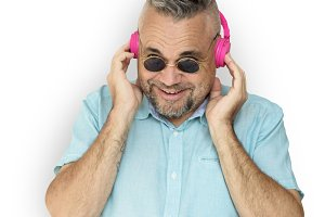 Man Wearing Headphones Smiling (PNG)