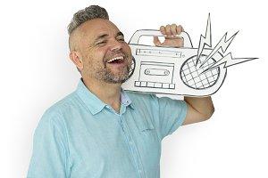 Man Holding Paper Craft Jukebox(PNG)