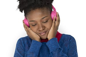African Female Headphones Smile(PNG)