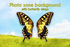 Photo zone background with butterfly