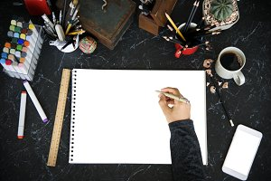 Drawing Painting Black Table (PNG)