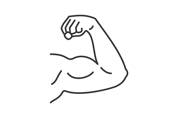 Male bicep linear icon