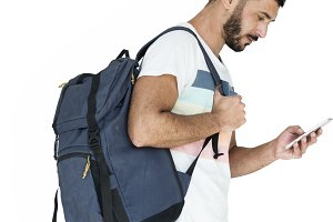 Man Carry Backpack (PNG)