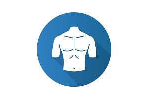 Muscular male chest flat design long shadow glyph icon