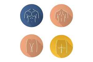 Male body parts flat linear long shadow icons set