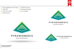 Abstract Pyramid Media Logo Template