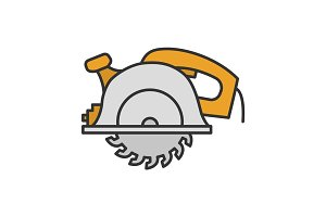 Circular saw color icon