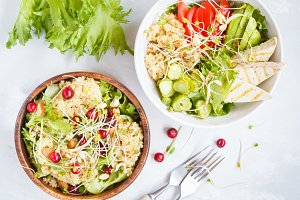 Vegan salads with quinoa