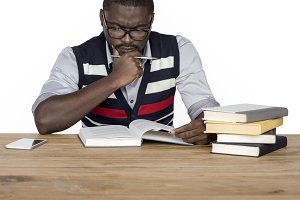 Man Curious Thinking Read Book (PNG)