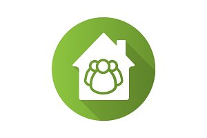 Family house flat design long shadow glyph icon