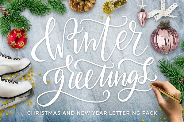 Winter Greetings Lettering Pack