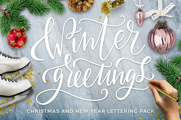 Winter Greetings Lettering Pack Graphic Objects Creative Market