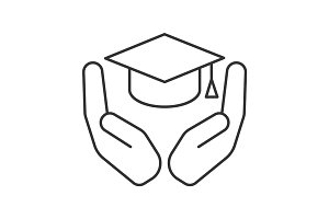 Open palms with graduation cap linear icon