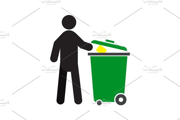 Man Throwing Out Trash Silhouette Icon