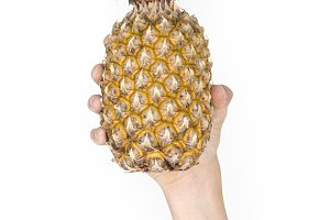 Hand Holding Pineapple Fruit (PNG)