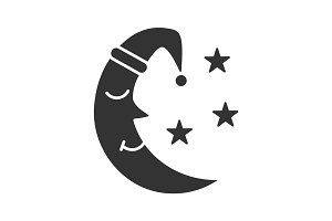 Moon with stars glyph icon