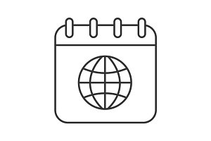 International calendar linear icon