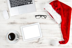 Office desk coffee laptop Ipad