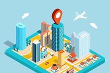 GPS route map. City navigation app