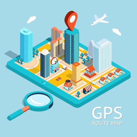GPS route map. City navigation app - Illustrations