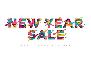 New Year Sale typography design