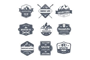Winter Sport - vintage vector set of logos