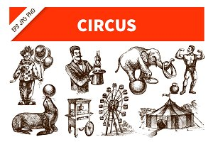 Hand Drawn Sketch Vintage Circus Set