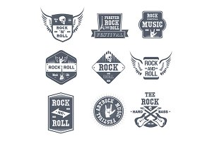 Rock Music - vintage vector set of logos