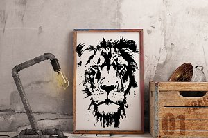 Hand drawn wild Lion