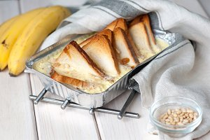 Healthy eating. Banana bread, bananas