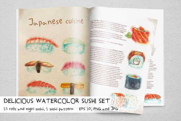 Delicious Watercolor Sushi Set.