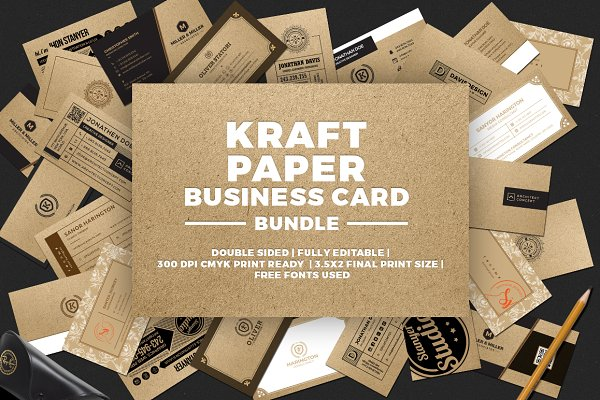 Business Card Templates - Kraft Paper Business Card Bundle