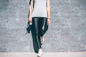 woman in black pants