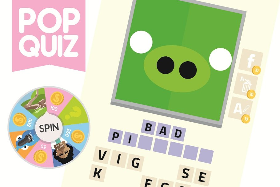 Pop Quiz Guess the Word Game Assets ~ Illustrations