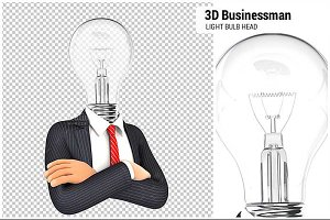 3D Businessman with Light Bulb Head