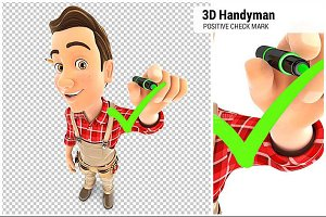 3D Handyman Drawing Check Mark