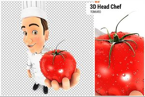 3D Head Chef Holding a Tomato