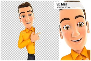 3D Man Pointing to Right Blank Wall