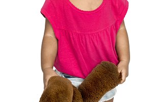Little Girl Brown Teddy (PNG)