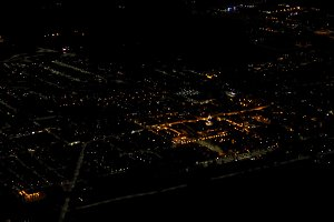 aerial view of town at night