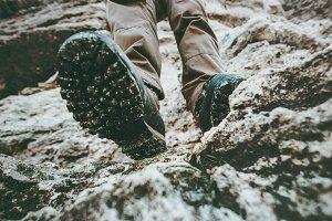 Trekking boots feet traveler