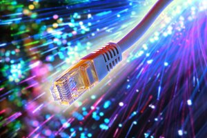 Ethernet cable with fiber optic