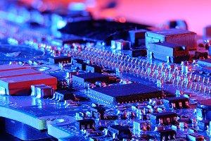 Closeup blue microcontroller board