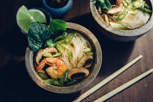 Bowl of Asian Noodle Soup with chopsticks