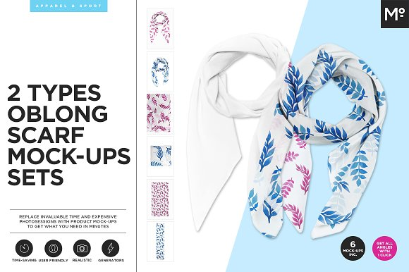 Download 2 Types Oblong Scarfs Mock-ups