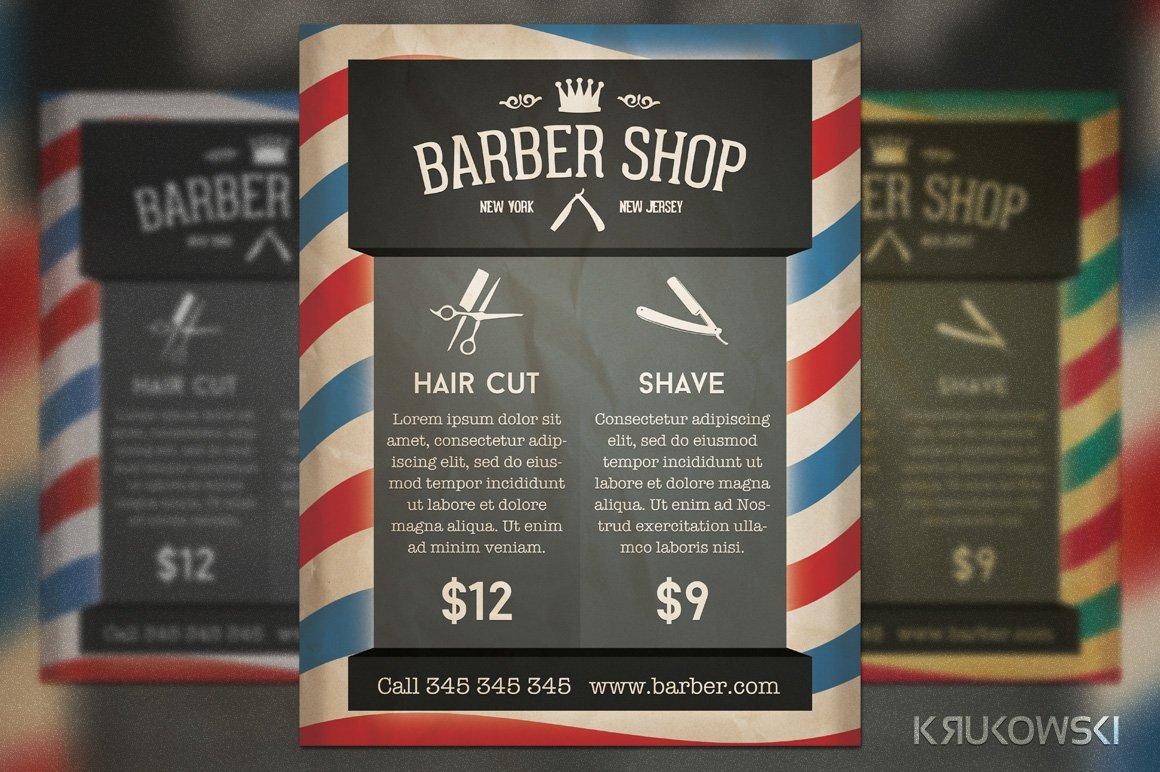 barber shop retro flyer flyer templates creative market. Black Bedroom Furniture Sets. Home Design Ideas