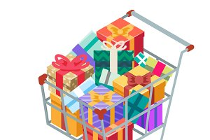 Isometric 3d shopping