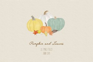 Pumpkin and Leaves Clipart
