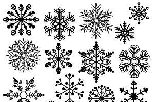 Snowflake Silhouette Vectors/Clipart
