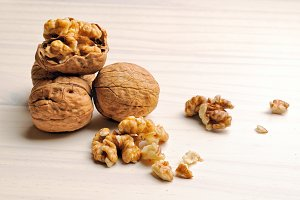 Walnuts on a white table